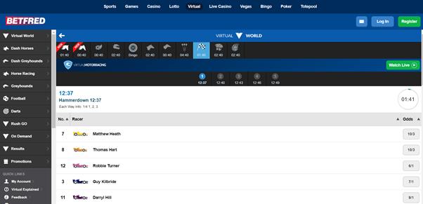 Screenshot Of Betfred Virtual Motor Racing Page