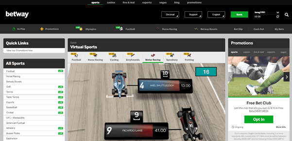 A Closer Look At Our Best Virtual Motor Sports Betting Sites So, who has made it to our final countdown of the grandest of virtual grand prix's? Not only do our picks here represent a great virtual motor racing experience but are also some of our absolute favourite operators all round, with not only plenty more amazing virtual sports options but tons of incredible markets, and in many cases casino and online poker options, for you to check out. Without further ado, here's the best of the best. 1. Betway Virtual Motor RacingA Closer Look At Our Best Virtual Motor Sports Betting Sites So, who has made it to our final countdown of the grandest of virtual grand prix's? Not only do our picks here represent a great virtual motor racing experience but are also some of our absolute favourite operators all round, with not only plenty more amazing virtual sports options but tons of incredible markets, and in many cases casino and online poker options, for you to check out. Without further ado, here's the best of the best. 1. Betway's Virtual Motor Racing