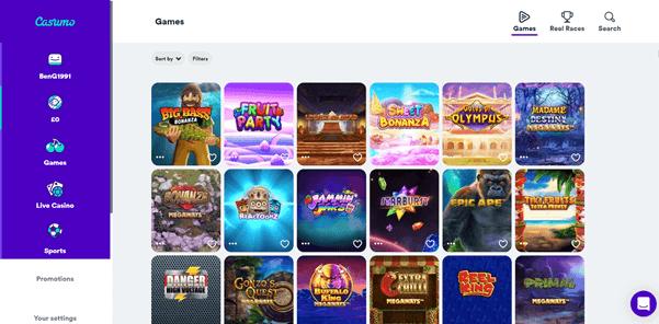 Screenshot Of Casumo Slots Page