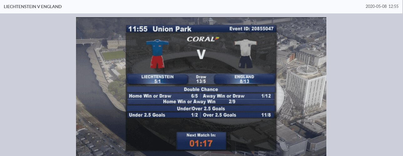 Screenshot of Coral Virtual Betting Match Statistics
