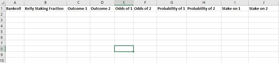 Kelly Criterion Calculator in Excel Step 1