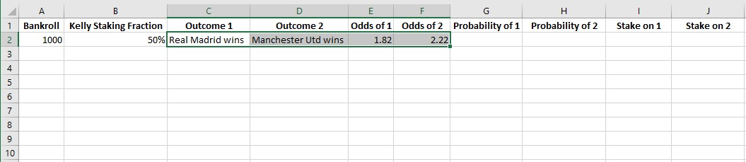 Kelly Criterion Calculator in Excel Step 3