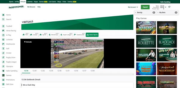 Screenshot Of Paddy Power Virtual Motor Racing Page