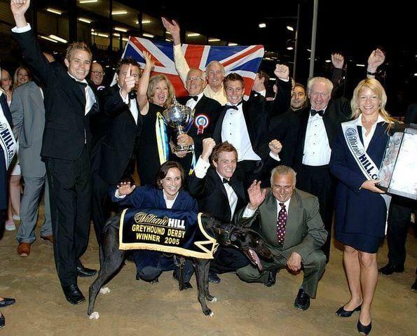 Westmead Hawk Winners celebrate at english greyhound derby