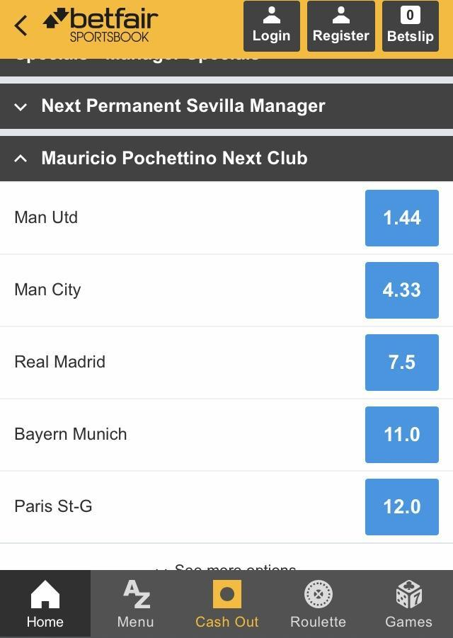 Next Manager Betting