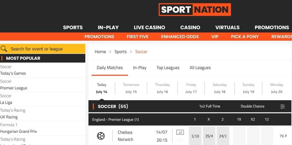 Sportnation betting homepage