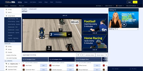 William Hill's Virtual Motor Sport