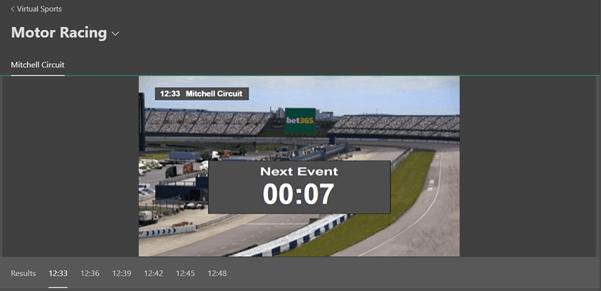 Screenshot Of bet365 Virtual Motor Racing Page