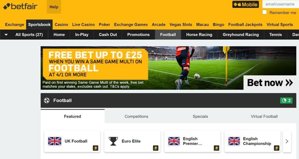 Betfair betting Homepage