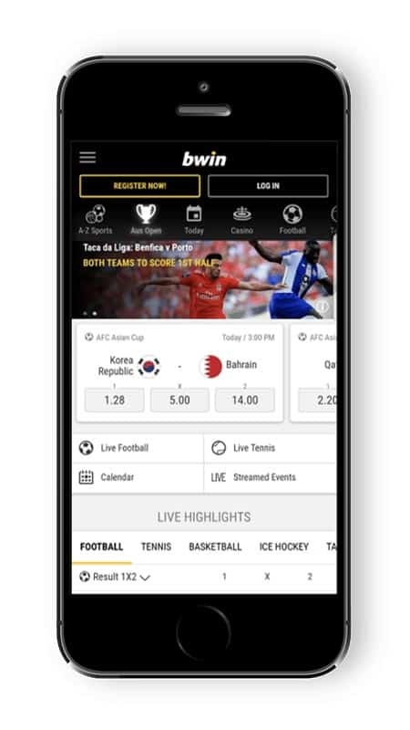 Bwin screenshot for a mobile device showing the website