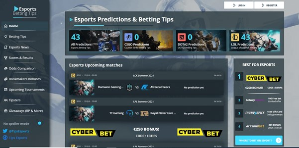 eSportsbettingtips.com Screenshot