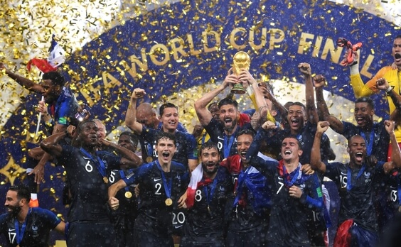 French team celebrating victory at Russia 2018 World Cup