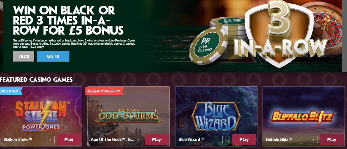 Paddy Power featured online slots