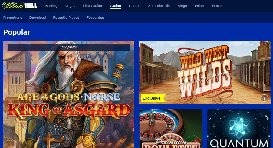 William Hill casino screenshot of online slots
