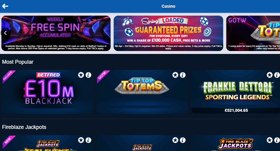Betfred screenshot of online slots