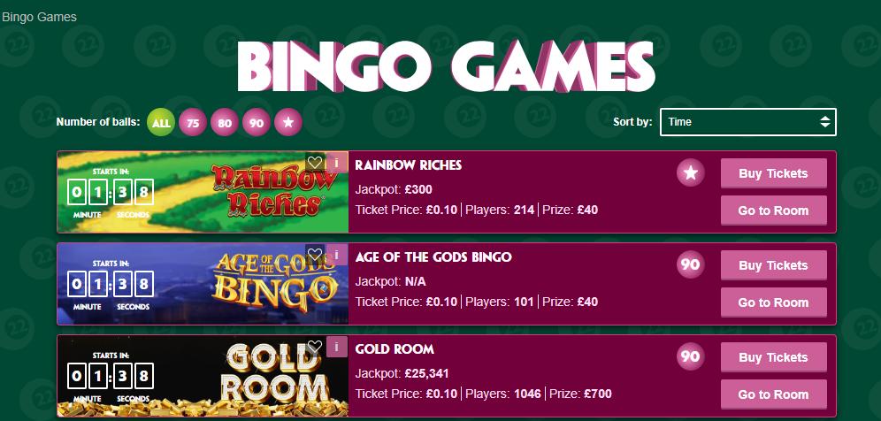 screenshot of Paddy Power bingo games