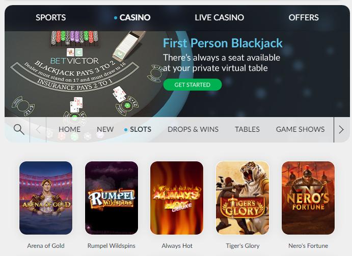 BetVictor online slot games - screenshot
