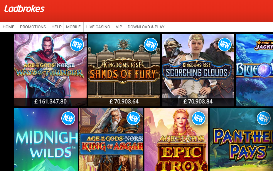Ladbrokes screenshot of online slot games