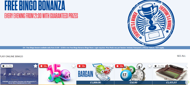 screenshot of Coral online free bingo bonanza
