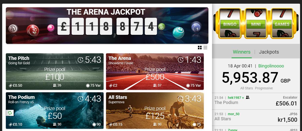 screenshot of Unibet online bingo