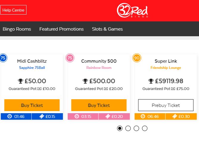 screenshot of 32Red online bingo rooms