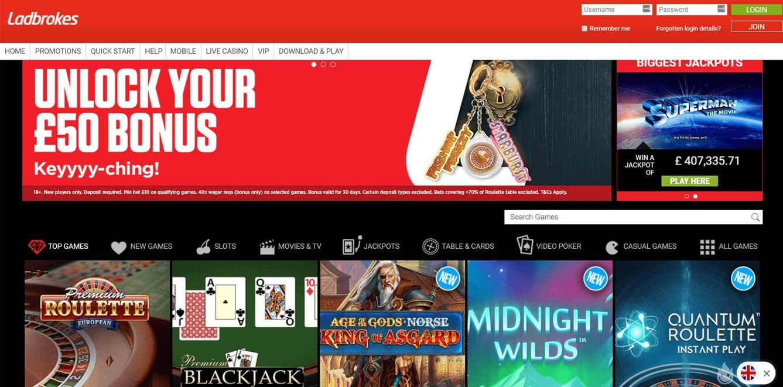 Ladbrokes Casino Homepage