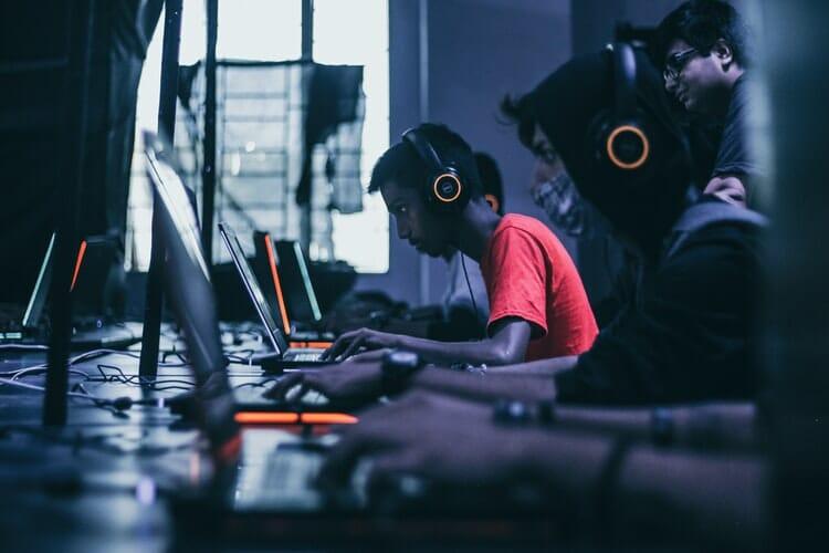 playing game on laptop