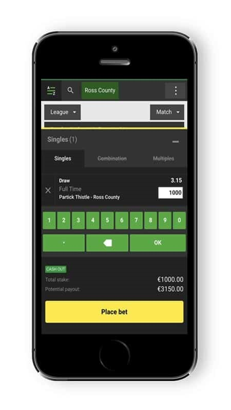 Unibet mobile betslip screenshot