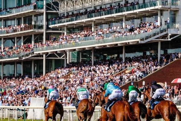 a horse race taking place at York racecourse, York, UK