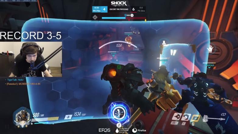 screenshot of a live Overwatch game underway