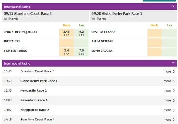 screenshot of BetDaq international racing market