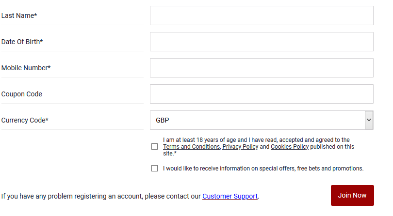 Dafebet Registration form continued