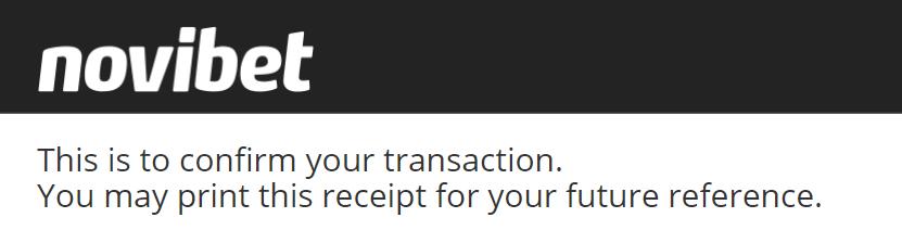 Novibet transaction receipt
