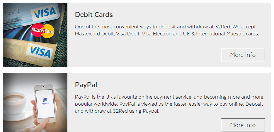 32Red Banking Debit Cards and PayPal options