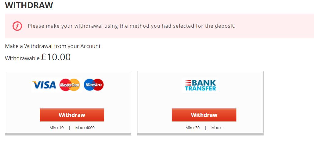 screenshot of Novibet withdrawal methods