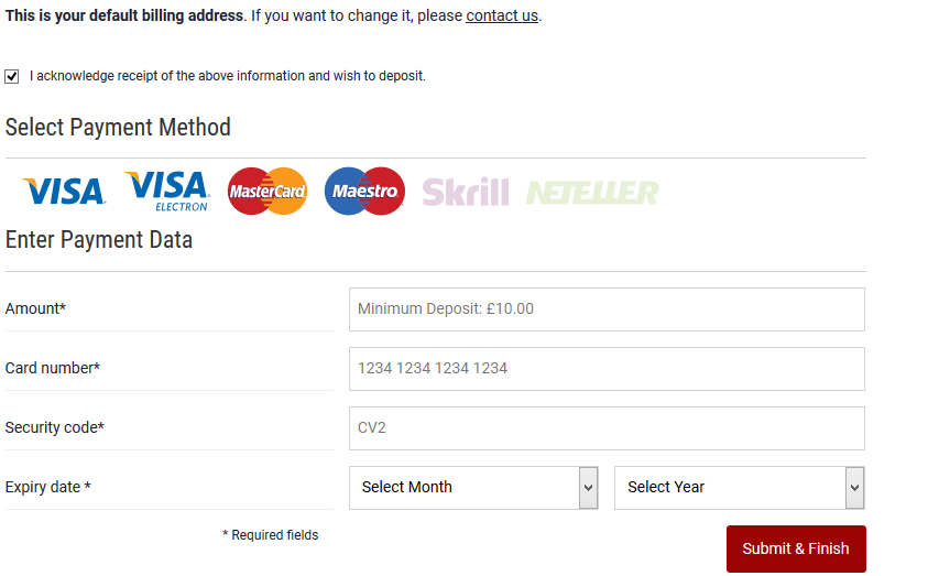 Dafabet Payment methods