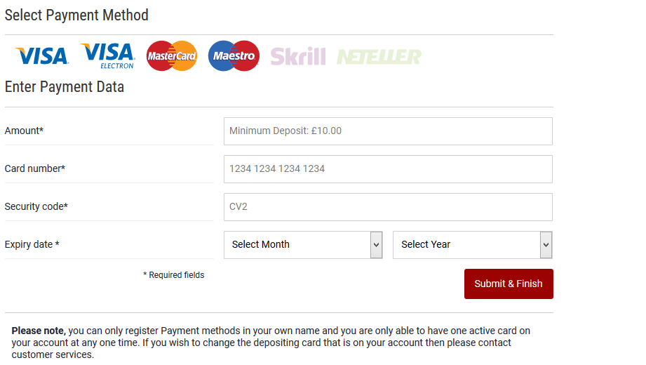 Dafabet select payment method