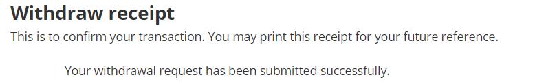 screenshot of withdrawal receipt