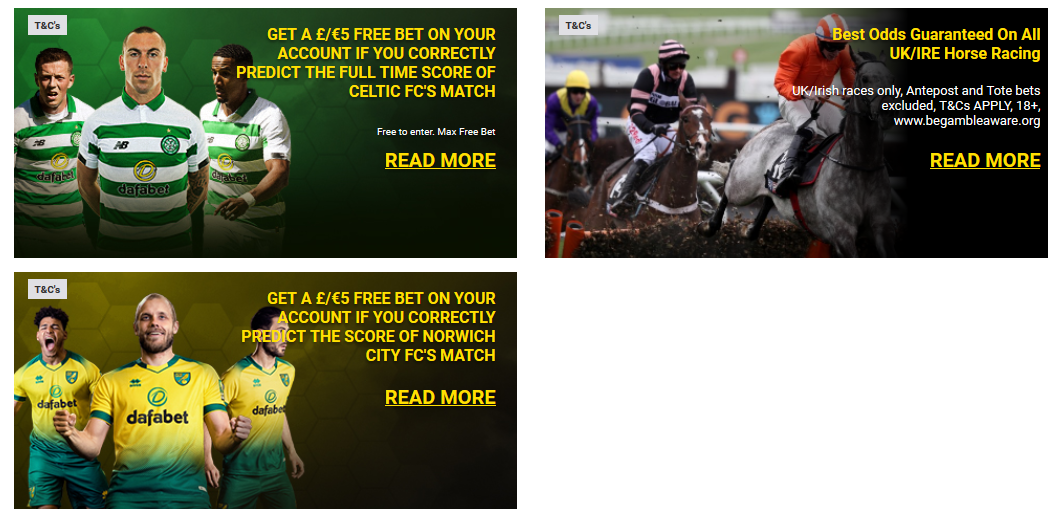 Dafabet Sportsbook Promotions Banners