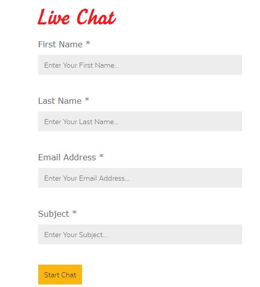 32Red Live Chat registration form