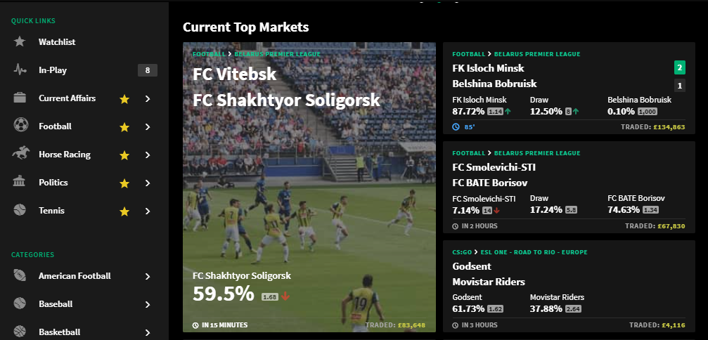 screenshot of Smarkets Match Offer