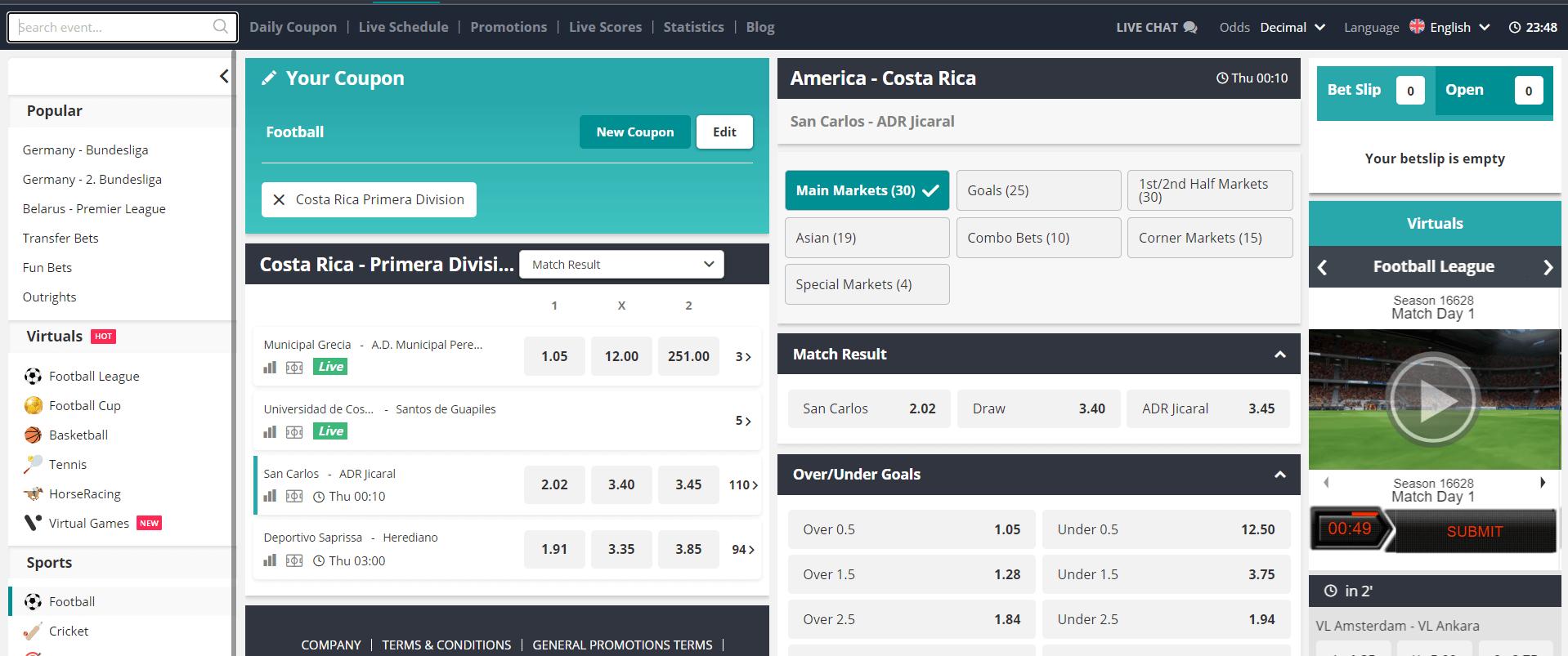 Novibet Pre-match Offer screenshot