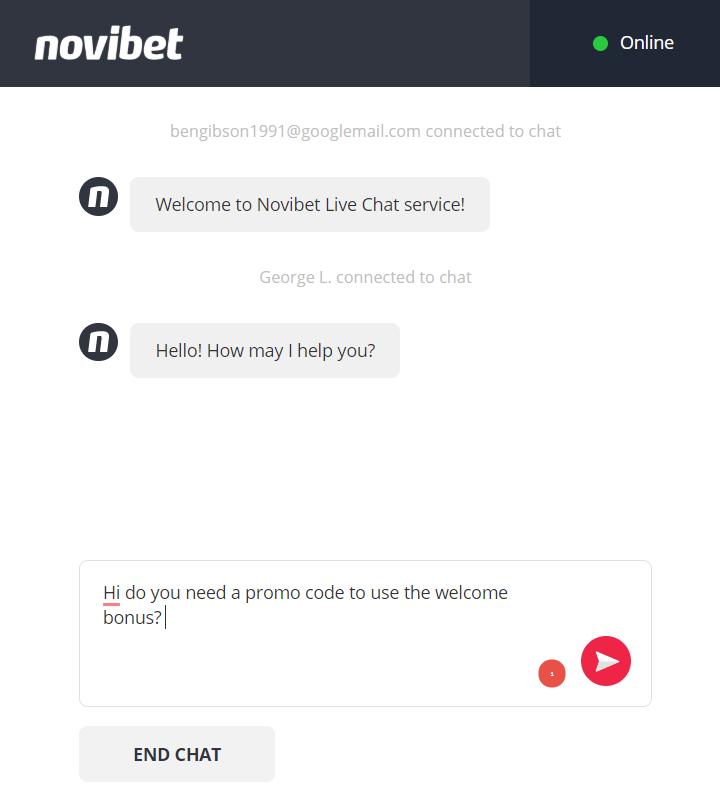 screenshot of Novibet live chat transcript