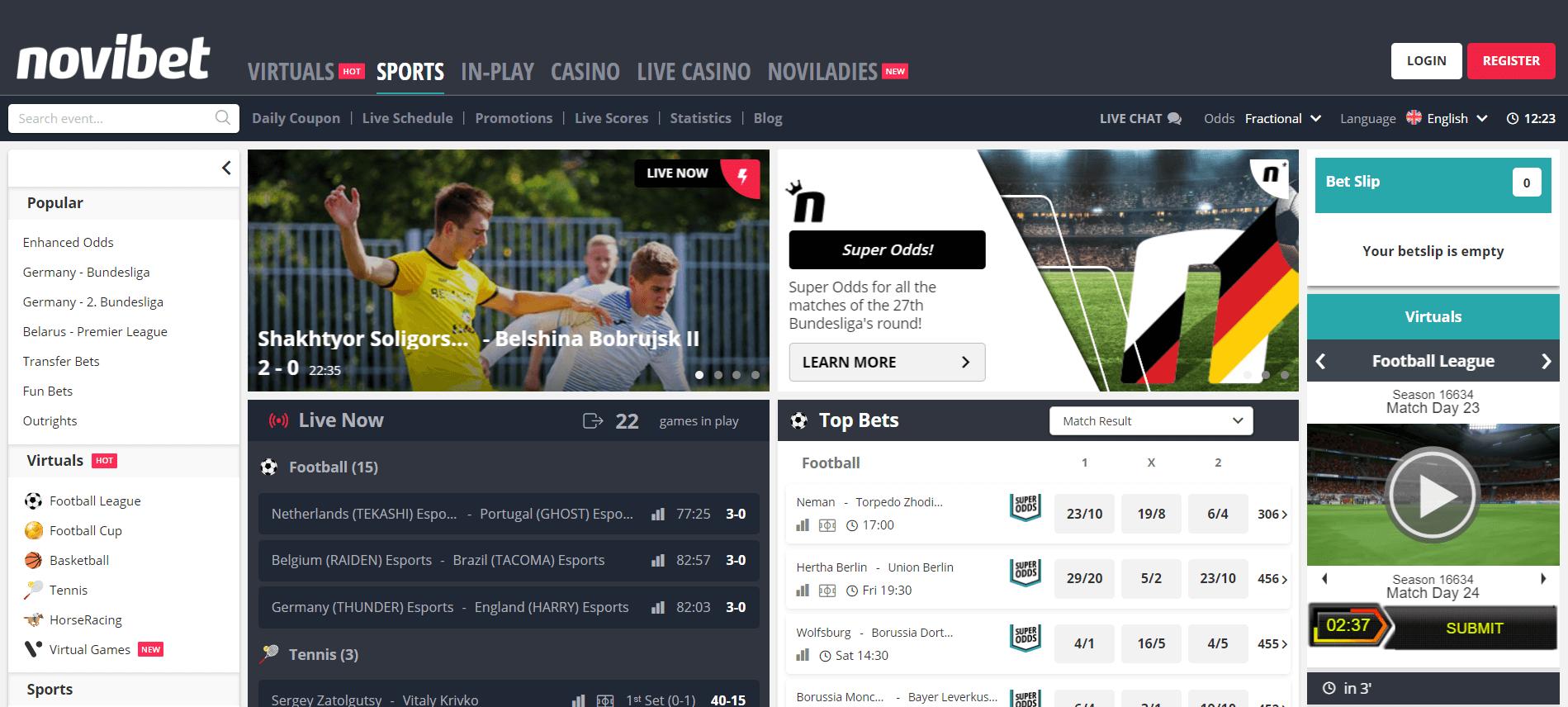 Novibet webpage screen capture