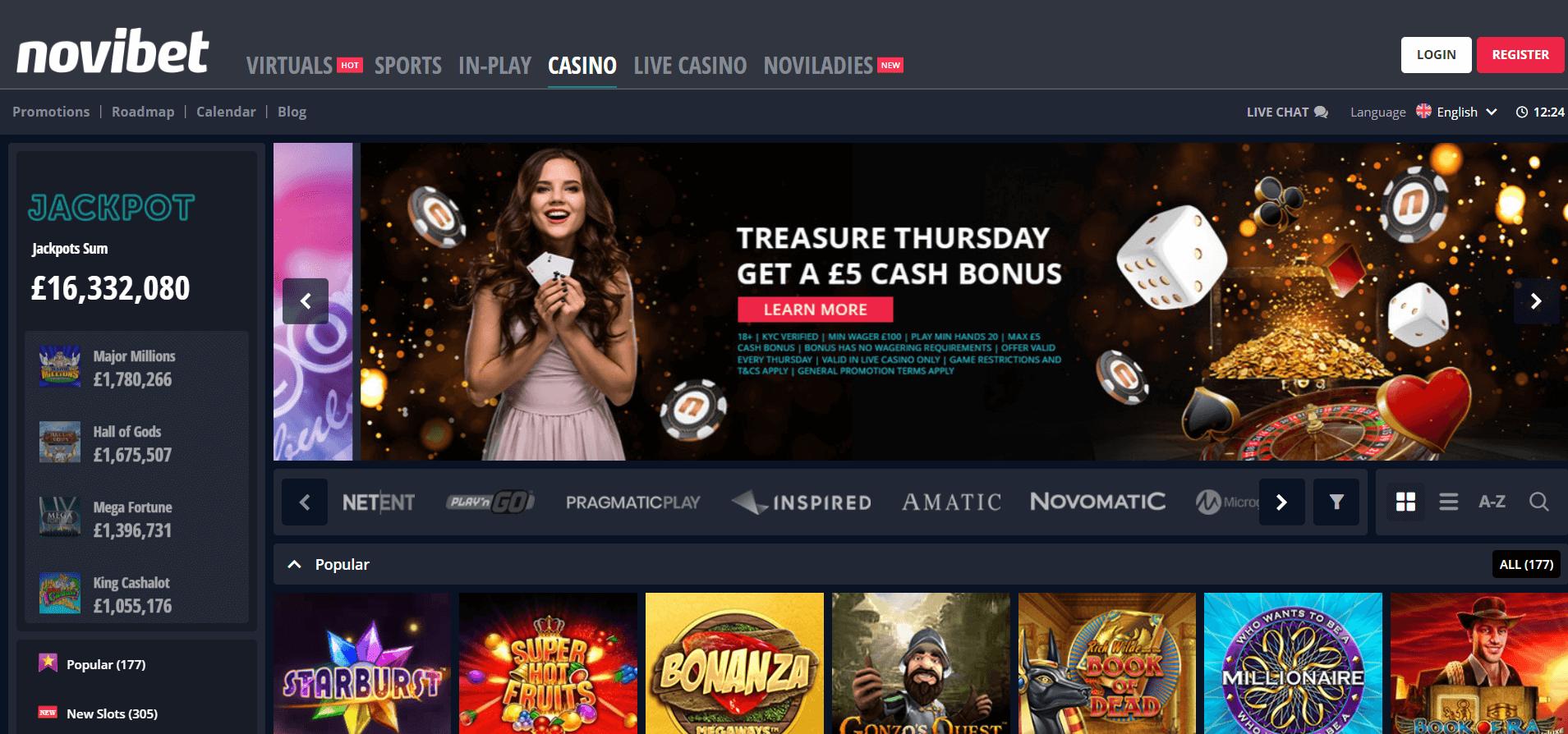 Novibet Casino Homepage