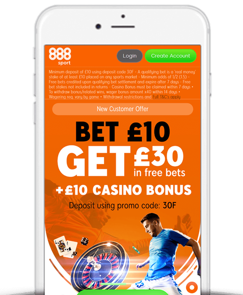888sport Bet £10 Get £30 offer as shown on a smartphone