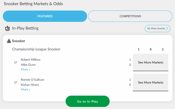 Snooker Betting Markets & Odds at BetVictor