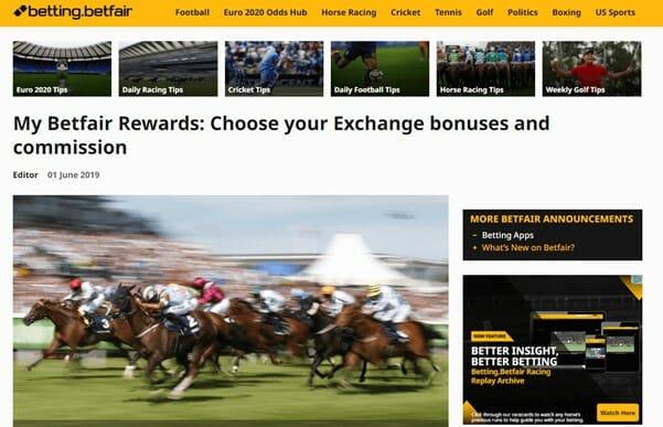 Betfair Rewards Page Screenshot