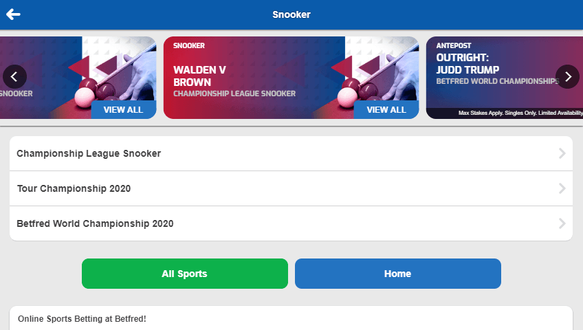 Snooker markets at Betfred
