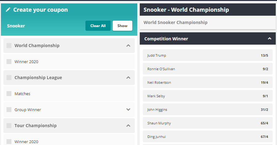 Create your coupon and Snooker World Championship odds displayed at Novibet